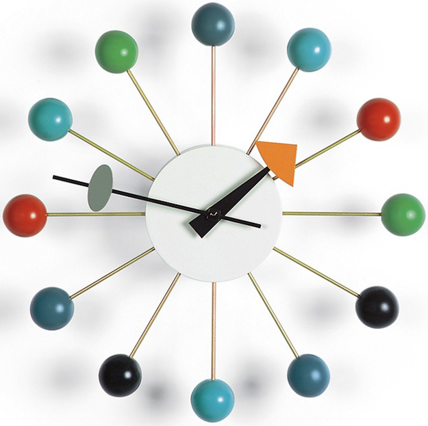 A persistent myth is that the 1948 Ball Clock emerged out of a drunken dinner party with Harper, George Nelson, Isamu Noguchi, and R. Buckminster Fuller. Harper says in reality he made it at work, like the others. Image via Vitra.com.