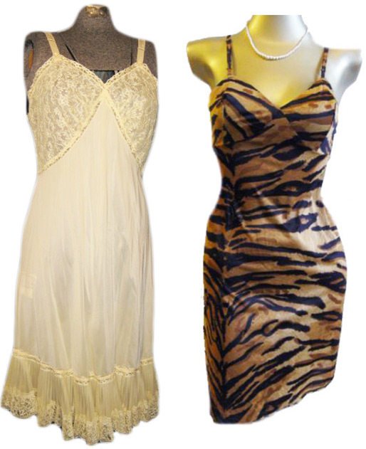 Left, a yellow vintage nylon slip by Dutchmaid. Right, a tiger-striped nylon slip by Van Raalte. Via aslipofagirl.net.