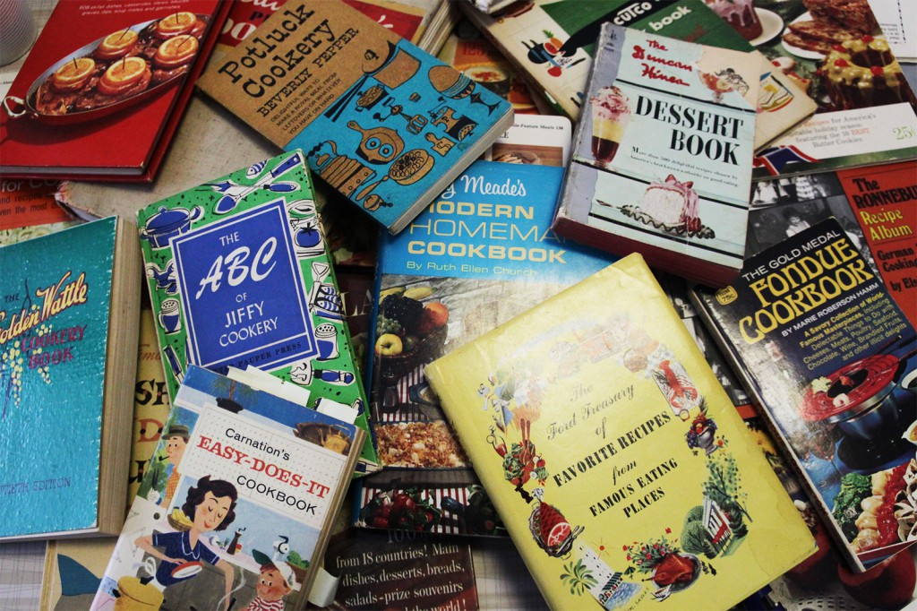 A sampling from Clark's cookbook collection, which started with a stack of hand-me-downs from her grandmother.