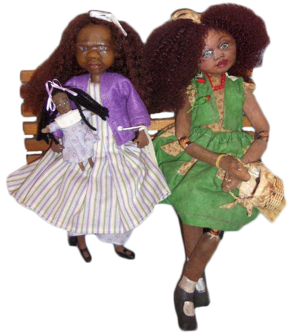 Laura Larue and Lou-Ellen are artist dolls made by black artist Gloria Young Rone, from her Massas Servants doll creations. Photo by Debbie Behan Garret.