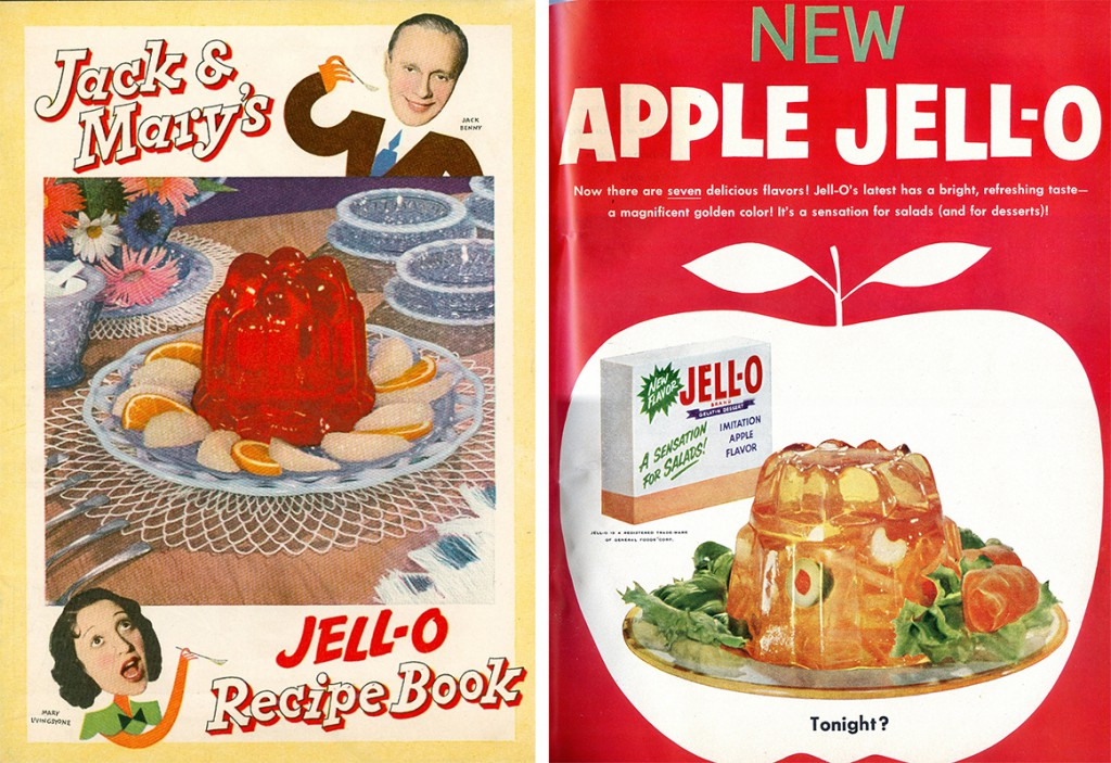 Left, Jack Benny and Mary Livingstone's 1937 Jell-O cookbook helped kick off the craze. Right, early Jell-O ads positioned the product as a suitable ingredient for all parts of a meal.