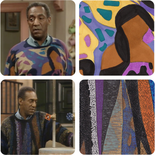 "Top: A Cosby kaleidoscope. Image via LIFE magazine. Above: For ""The Cosby Sweater Project,"" Kelly Tucker creates an original drawing of a knitted garment from each episode of the show."