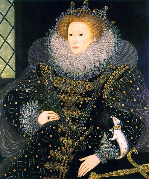 Elizabeth I of England was painted with a heraldic ermine, which has black spots over its entire body. (Courtesy of the Hatfield House)