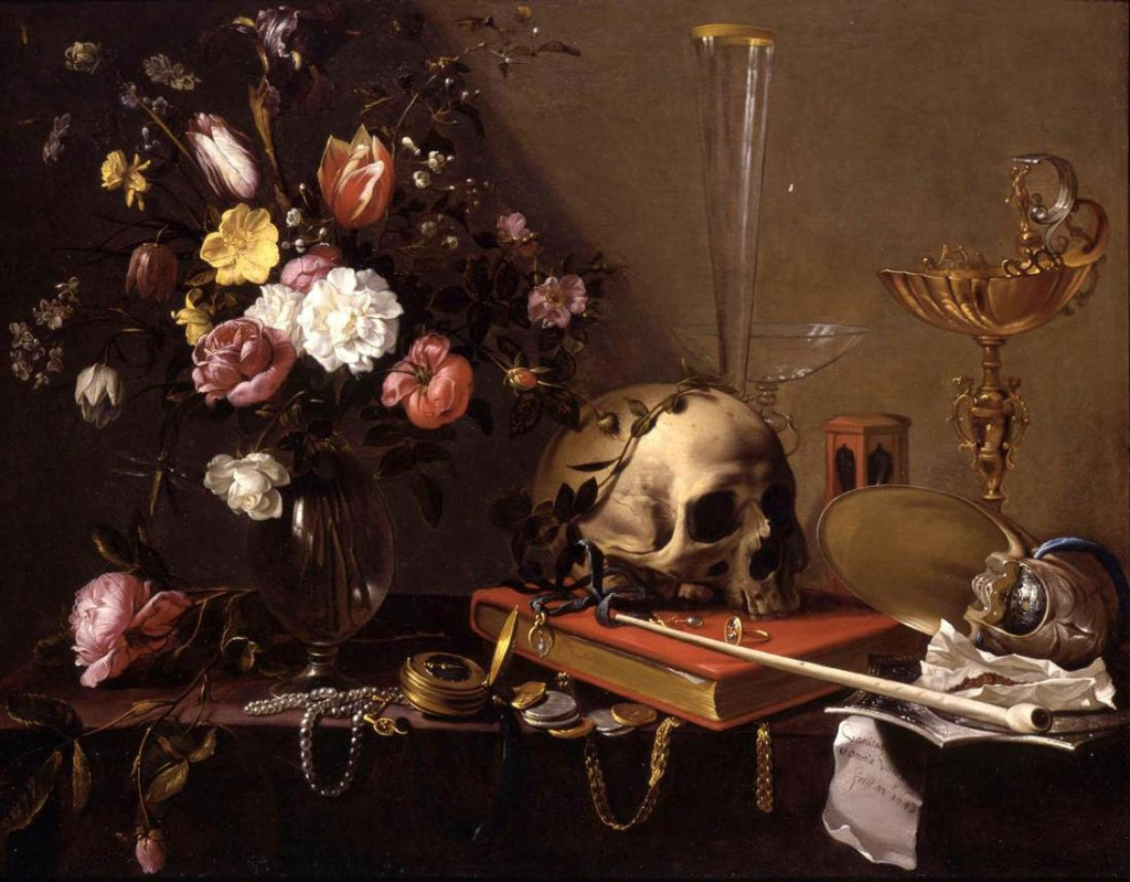 """Still Life with Bouquet and Skull"" by Adriaen van Utrecht exemplifies the vanitas genre, circa 1642."