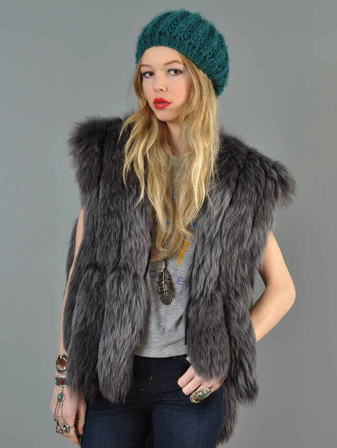 This 1970s silver dyed fox tail gilet is one of Anessa Woods' finds, which Bustown Modern is selling. (Courtesy of Bustown Modern)