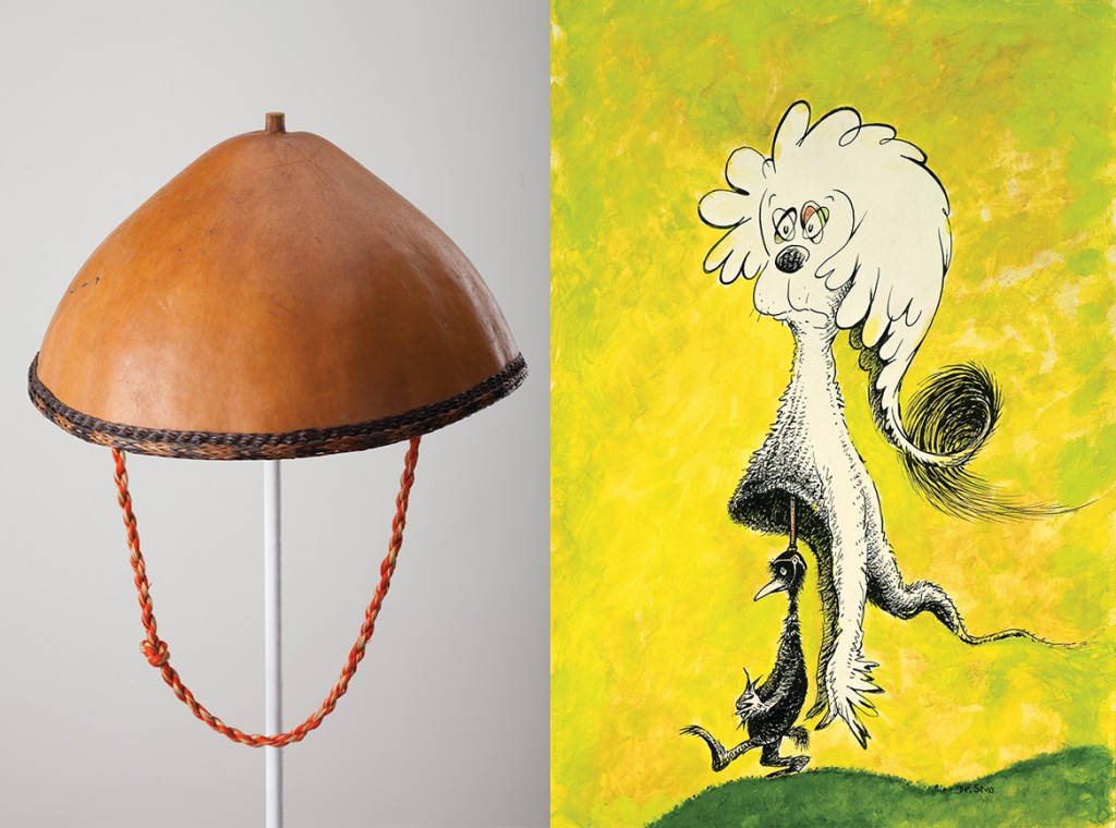 "While in Southeast Asia, Geisel purchased a hat made from a coconut shell, which may have had some influence over his painting ""Fooling Nobody."" (Courtesy of the Dr. Seuss Estate)"