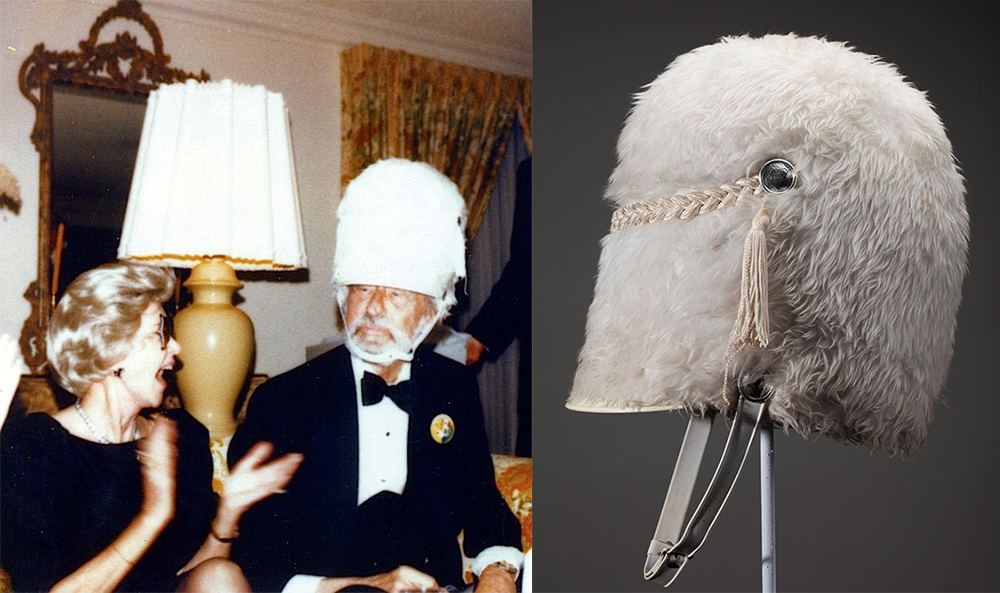"Top: Which came first, the Cat or the Hat? ""Hats Off to Dr. Seuss"" curator Robert Chase doesn't know, but Theodor Geisel had a stovepipe hat like the Cat in the Hat's as a well as a painting that could be a self-portrait of Dr. Seuss as the Cat. Above: Geisel made his wife, Audrey, laugh with a drum-major hat. (Courtesy of the Dr. Seuss Estate)"