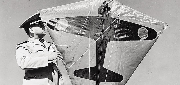 During World War II, Navy Commander Paul Garber developed a target kite (bearing the silhouette of a Japanese aircraft) for U.S. Navy gunnery practice. Via the Smithsonian's Air & Space Museum.