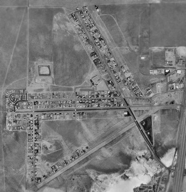 As this aerial view shows, the town of Bar Nunn was laid out alongside Wardwell Airport's runways.