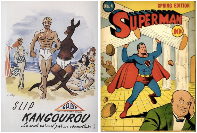"Left: This French brand Kangourou was one of the first to offer ""slips,"" also known as briefs in America. Right: Superman's costume was revealing but modest at the same time. Photo: coverbrowser.com"