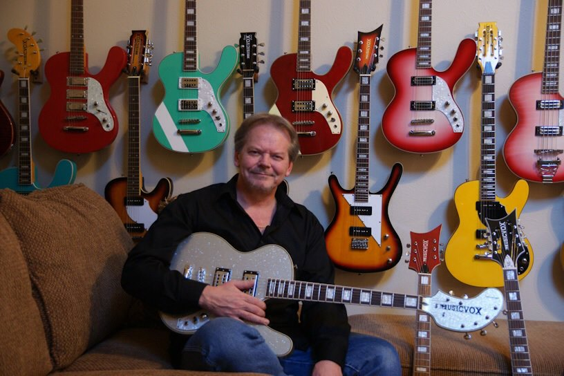 Guitar collector Kevin Smith, with just a few of the 70 or so Musicvox guitars.