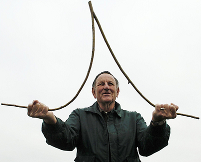 Palms-up is the standard way to hold a dowsing stick.