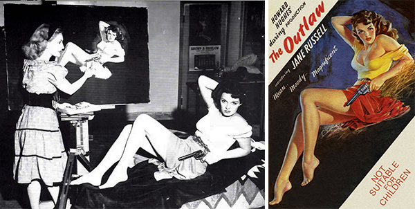 "Jane Russell models for Mozert, who's painting the scandalously sexy promotional art for 1945's ""The Outlaws."" Via ""Tease!"" #3."
