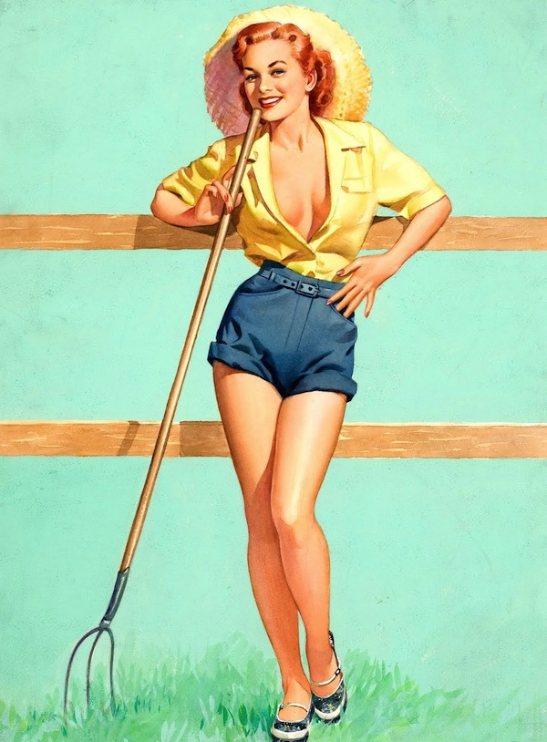 A trend in pin-ups in the '50s was cowgirls, as seen in this Frush painting.