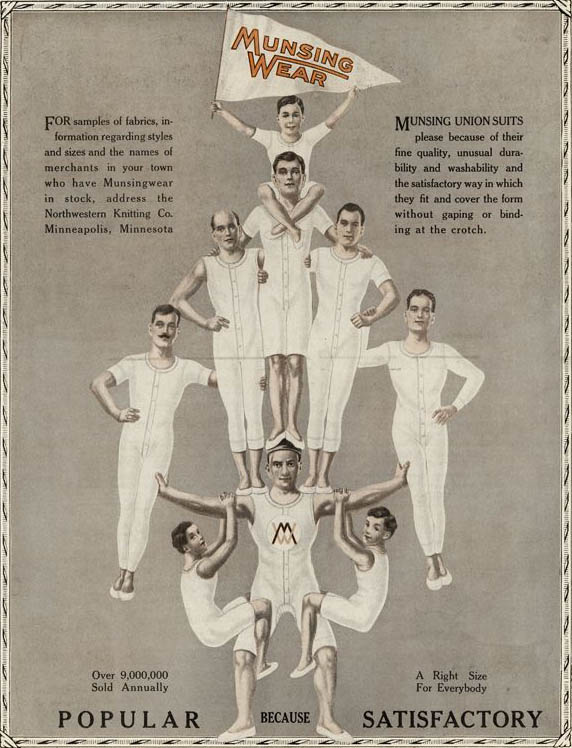 The athletic association of underwear started around 1900, as shown in this Munsingwear ad from the era.