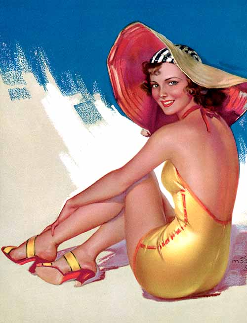 "A Mozert cover for ""True Confessions."" She is said to have been influenced by the styles of male contemporaries Earl Moran, Gil Elvgren, George Petty, and Rolf Armstrong."