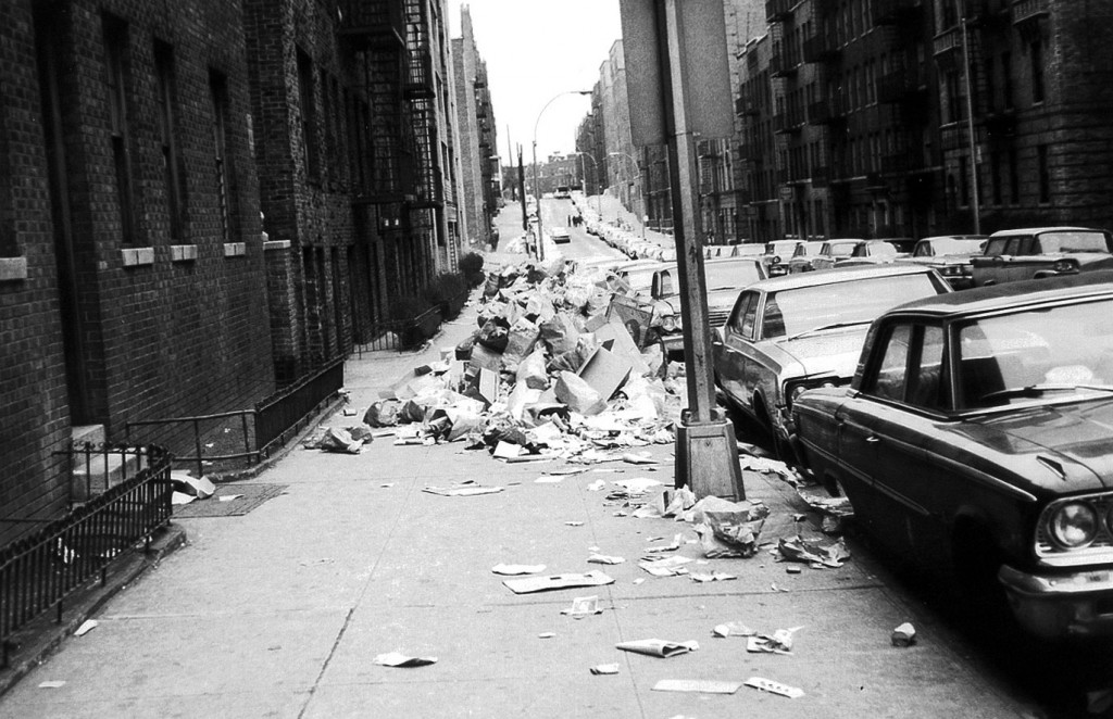 New York City sidewalks filled with trash during the 1968 strike, one of the few moments in the last fifty years that garbage was front and center.