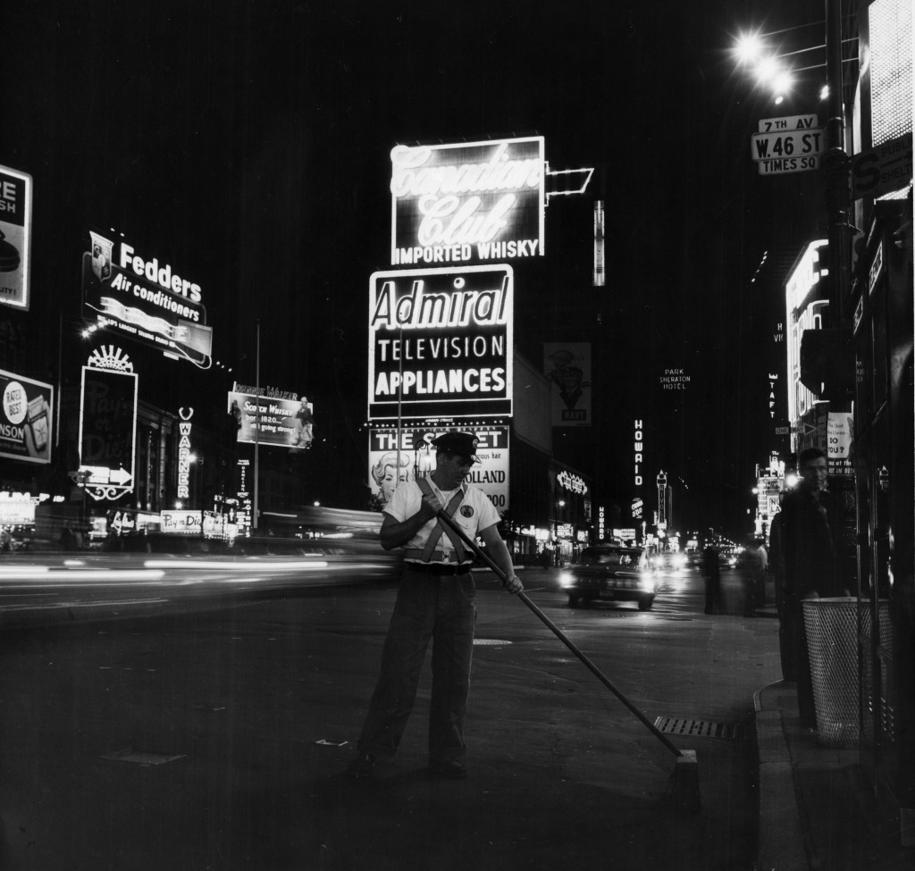 Sweeping Times Square in the 1960s.