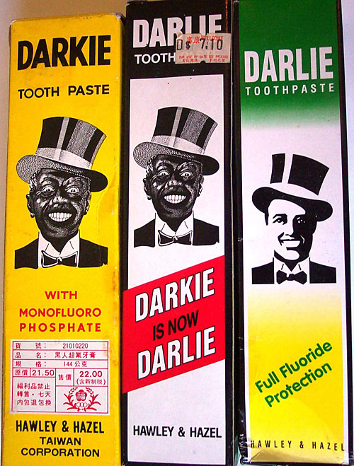 When Darkie toothpaste was first manufactured in Shanghai in 1933, it featured a racist caricature of a black man on the label. Eventually, the English name was changed to Darlie.