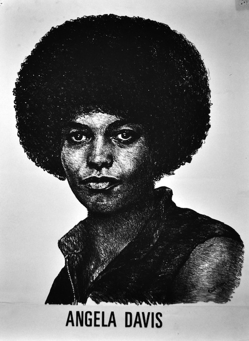 A drawing of Angela Davis staring straight at the viewer