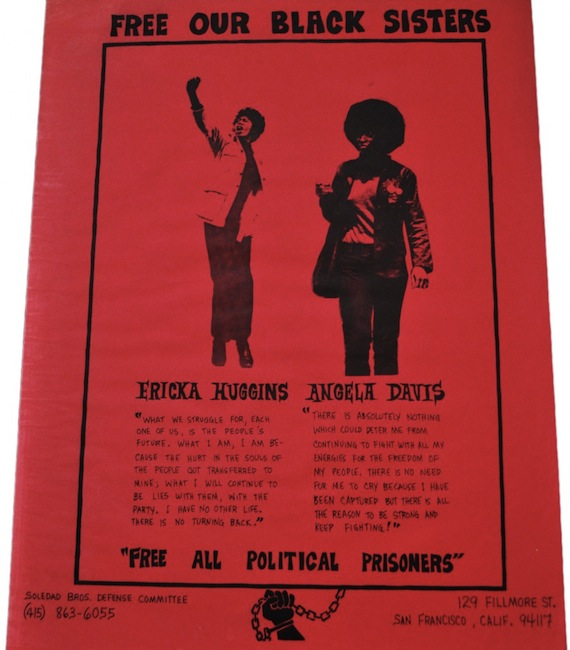 Angela was often paired on posters with Ericka Huggins, who was the leader of the Black Panther Party in Los Angeles in 1969, when she was arrested with party co-founder Bobby Seale.