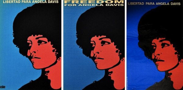 "Simple screenprinted poster of Angela with red and blue background that says in spanish ""free angela davis"""