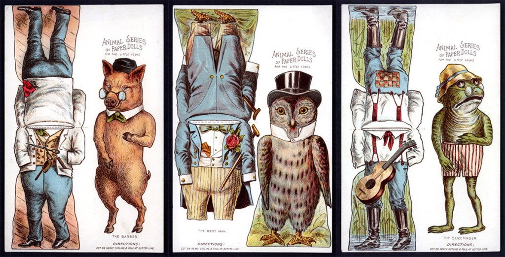 A series of animal advertising dolls, likely from the 1890s. Courtesy Linda Ocasio.