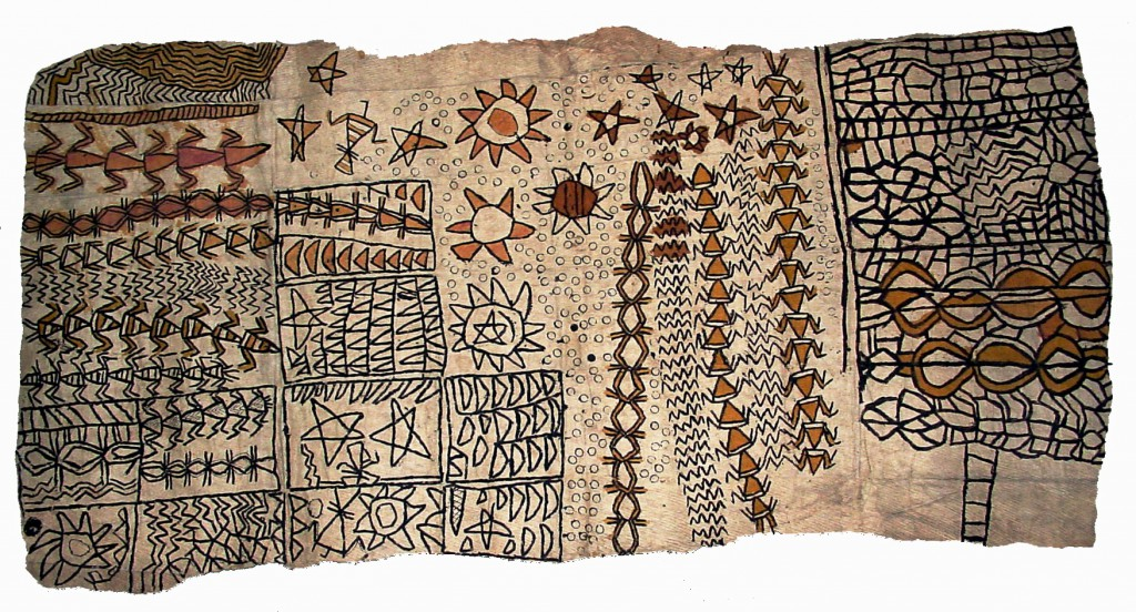A piece of decorated barkcloth from the South Seas archipelago New Hebrides, also known as Vanuatu, that 1800s Canadian missionaries H.A. and Christina Robertson donated to the Redpath Museum in Montreal. Click to enlarge. (Courtesy of Barbara Lawson, Redpath Museum)