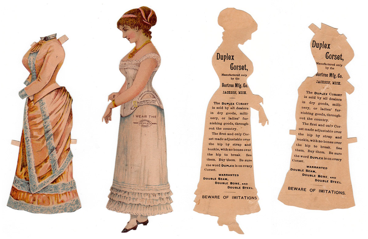 An paper doll advertising Duplex Corsets, circa 1886.