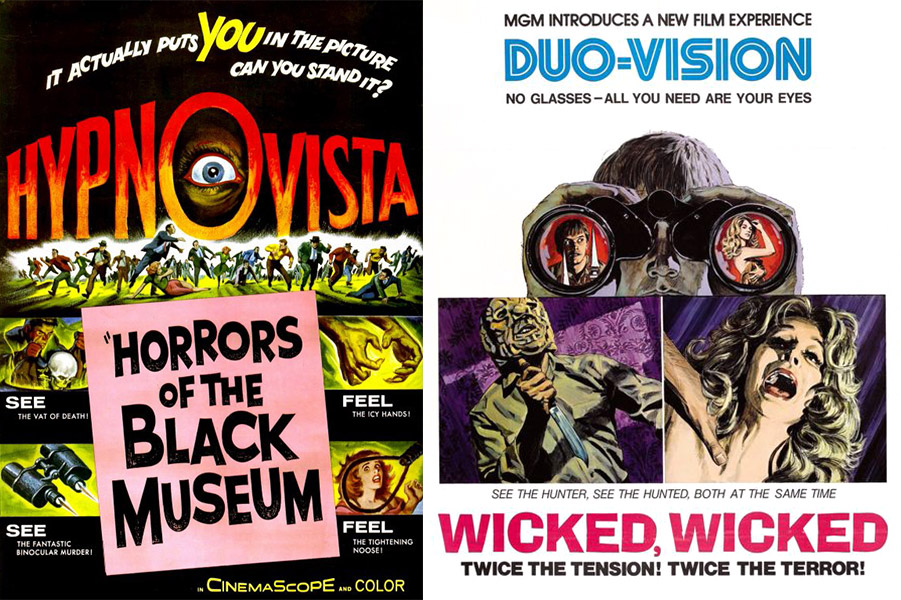 """The Horrors of the Black Museum"" was shown in ""HypnoVista,"" whereby the audience was supposedly hypnotized. ""Wicked, Wicked"" utilized ""Duo-Vision"" to show two scenes side by side."