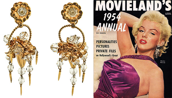 "Top: Four hinged filigree bangles, from the late 1920s to early '30s, made from gold-plated brass and glass stones. Above: The large floral-basket earrings Marilyn Monroe wore for the 1954 cover of ""Movieland"" magazine. (From ""The Napier Co."")"