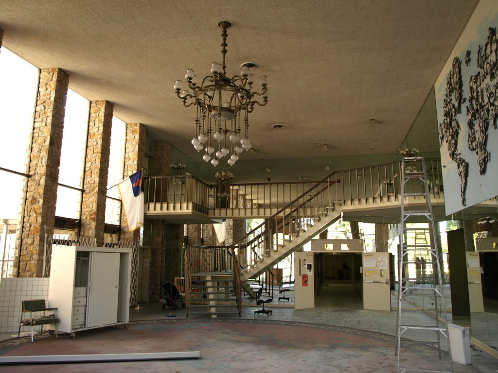 The rotunda of the World Museum in Tulsa was a relic of the 1960s. Pictured before it was demolished in 2009, click to enlarge. (Photo by Rex Brown, via OklahomaModern.us)