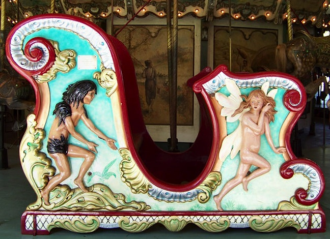 In Victorian times, chariots were designed for chaste women to avoid exposing their ankles. The restoration of this Spillman Engineering chariot, on the 1926 merry-go-round in Griffith Park, was sponsored by Walt Disney Foundation. (© Jean Bennett, via carousels.org)