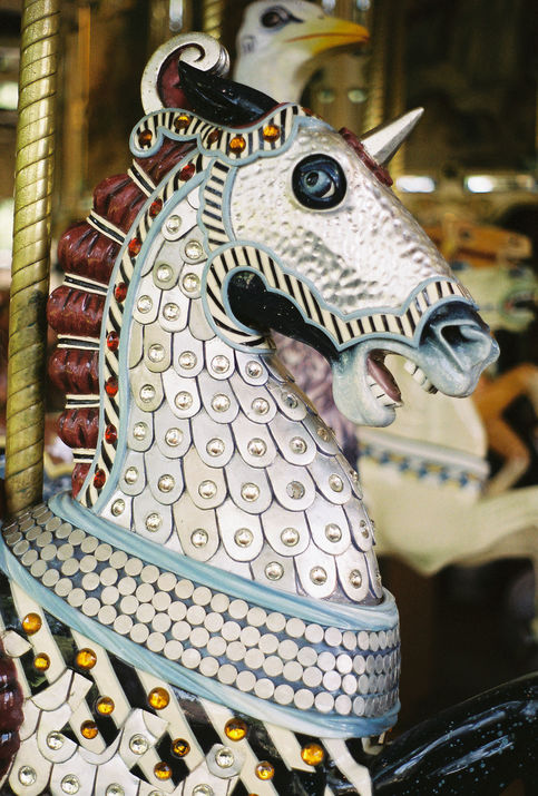 While Herschell-Spillman made simple machines for carnivals, the company also produced elaborate merry-go-rounds for parks. This knight horse, probably inspired by the carousel's medieval roots, is part of the company's 1914 merry-go-round at Golden Gate Park in San Francisco. (© Aaron Shepard, via carousels.org)