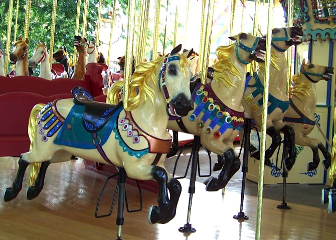 Master carver Marcus Illions was known for his horses with wild, flying manes covered in gold leaf. This 1926 carousel of his lives at Worlds of Fun in Kansas City, Missouri. (© Jean Bennett, via carousels.org)