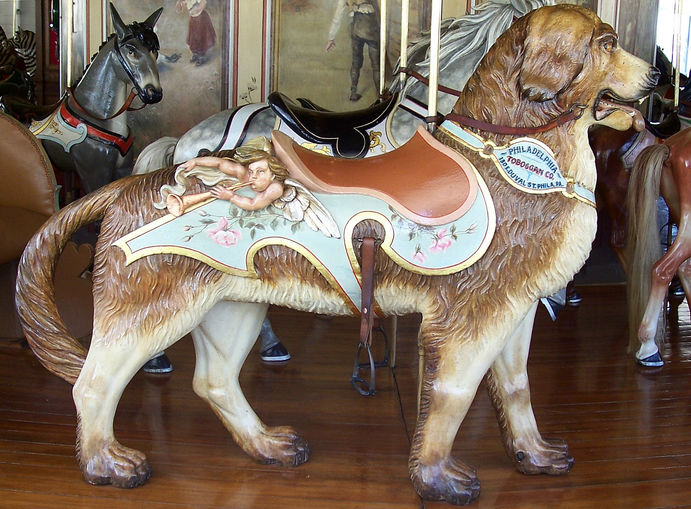 A dog from a 1905 Philadephila Toboggan Company carousel, whose building was closed up and used to store hay. When city officials in Burlington, Colorado, reopened the building, they found a mess, but the carousel had its original paint. (© Jean Bennett, via carousels.org)