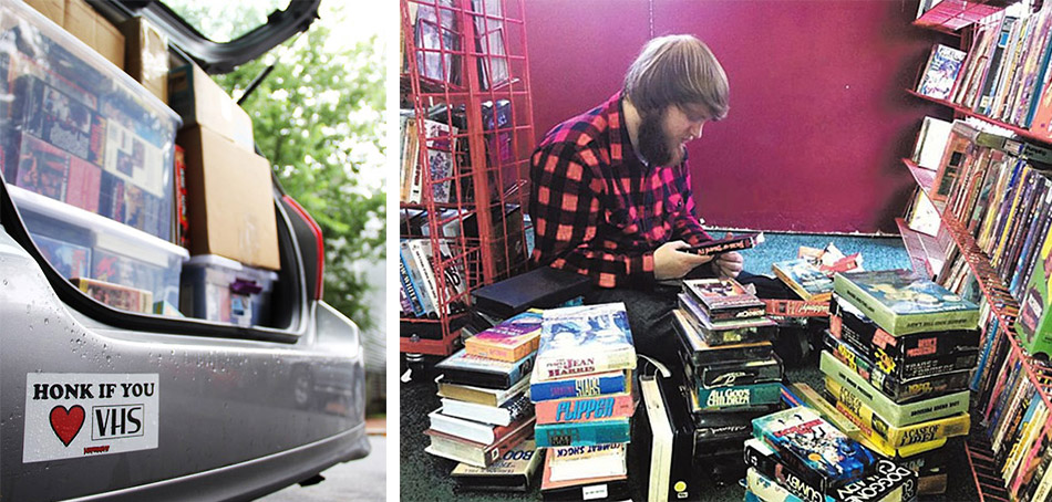Left, Kinem and Peretic's tape-filled trunk ready for their documentary tour. Right, Kinem pores over stacks of VHS.