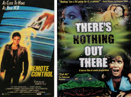 "Left, the cover art for ""Remote Control"" from 1988. Right, 1991's ""There's Nothing Out There,"" was a precursor to ""Scream,"" with characters pointing out horror film tropes as they were happening to them."