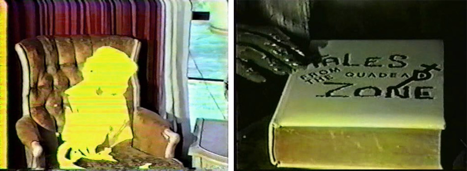 "Two stills from the disturbingly low-budget and ultra-rare ""Tales From the Quadead Zone."""