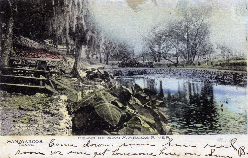 """Come down some time real soon - we sure get lonesome here on Sunday."" This colored postcard shows an early view of Spring Lake before Rogers purchased the plot."