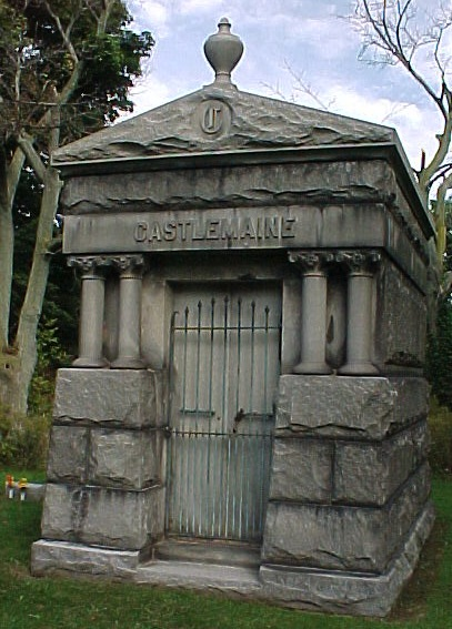 Many of the Sutherland Sisters were buried in or near the Castlemaine mausoleum in Glenwood Cemetery in Lockport, New York. (Photo by Alan Brownsten, via FindAGrave.com)