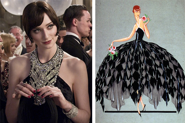 Jordan Baker (Elizabeth Debicki) wears a modern Prada halter dress that has a similar neckline to a 1928 Jeanne Lanvin fashion illustration. This was a cutting-edge style, not at all what your average woman would dare to wear. (Images from Warner Bros. and FiveFiveFabulous.com)