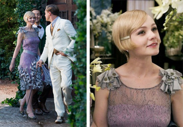 "Top: Isla Fischer plays Myrtle Wilson, the wife of a garage mechanic in ""The Great Gatsby,"" in a push-up bra. Above: Carey Mulligan as the wealthy Daisy Buchanan, wears a dress that's way too snug-fitting and figure-flattering for the 1920s. (Images courtesy of Warner Bros.)"
