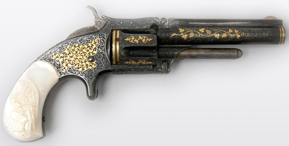 This presentation New Model 1 1/2 Revolver, manufactured by Smith & Wesson in 1870 and engraved by Gustave Young, belonged to President Ulysses S. Grant. (From the George Gamble Collection, Autry National Center)