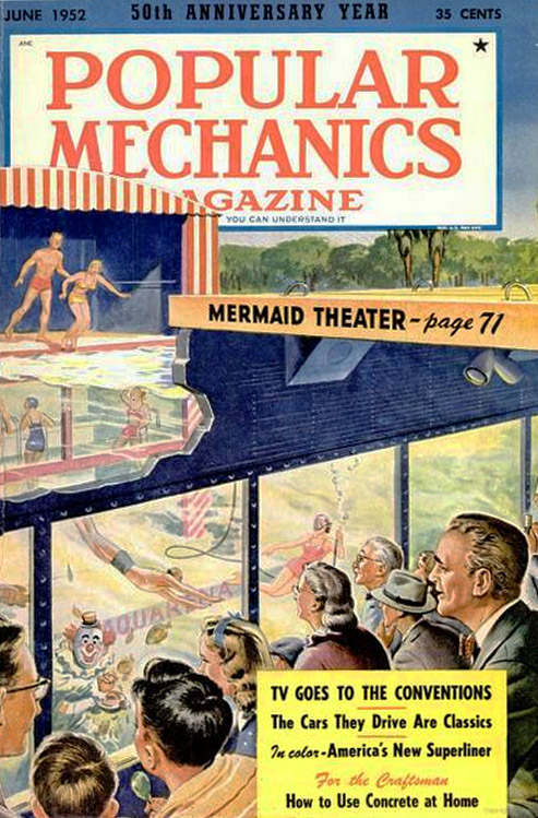 "The submarine theater was featured on the front of ""Popular Mechanics"" in 1952."
