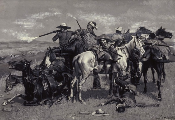 "Illustrator Frederic Remington toured the Old West in 1881 just before it slipped away and created iconic images, such as this 1887 oil painting, ""An Incident in the Opening Up of a Cattle Country."" (From the Autry National Center)"