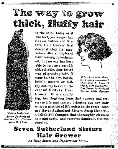 A Sutherland ad from the 1910s attempted to adopt their product to the new bobbed hairstyles of the time. (Via RapunzelsDelight.com)