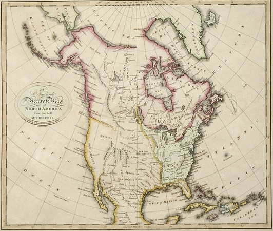 A 1792 map of North America, made by Thomas Brown, shows that Spain had claim to the land west of the Mississippi River. (From the Autry National Center)