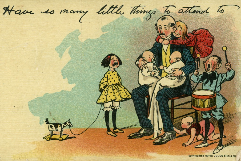 Even as women were accepted in certain industries, their attempts to organize for legal rights were consistently mocked in political cartoons, like this anti-suffrage postcard from 1907.