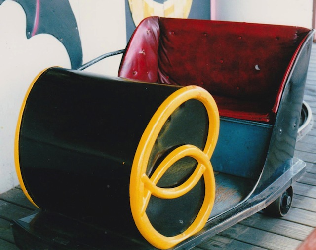 This original 1954 Pretzel metal car with the logo on both sides is still operating in the Laffland ride at Sylvan Beach Amusement Park in upstate New York. (Courtesy of LaffintheDark.com)